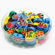 DIY Wooden Cartoon animals 90 beads Children s Jewelery Making Utilities Kids strings beads series learning