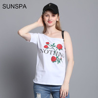 SUNSPA Nothing Letter Print T Shirt Rose Harajuku T Shirt Women 2017 Summer Casual Short Sleeve