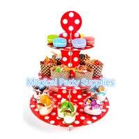 Miễn phí Vận Chuyển 3 cái của Giấy Sinh Nhật Bánh Đứng Red Dot Polka bánh Pan Pallet Cupcake Đứng 3 Tiers 12 Màu Sắc Bên Ủng H