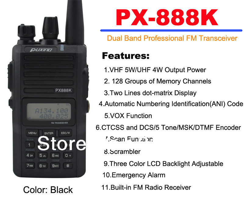 Black Color PUXING PX-888K Dual Band Professional FM Transceiver