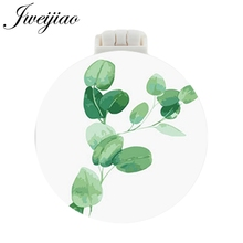 JWEIJIAO Natural Grass Photo Pocket Mirror With Massage Comb New Design Folding Portable Make up Multifunctional Beauty Tools