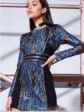 Luxury Designer Summer Blue Sequins Bodycon Dress Women 2018 Sexy Long  Sleeve Beading Evening Party MIni Dresses Vestidos Tunic 46d408c68812
