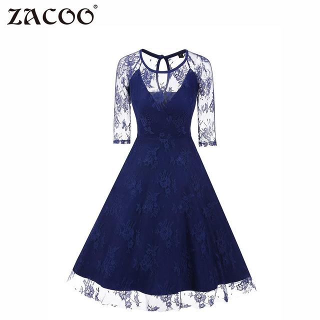 95beee630ed7d ZACOO Women Vintage Floral Lace Net 3/4 Sleeve Formal Swing Dress Elegant  blue Round neck Slim sexy dress zk20