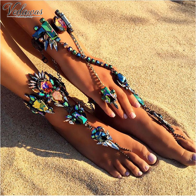 Vedawas Fashion Ankle Bracelet Wedding Barefoot Sandals Beach Foot Jewelry  Sexy Pie Leg Chain Female Boho Crystal Anklet 1492-in Anklets from Jewelry  ... 7b8b4ea86de6