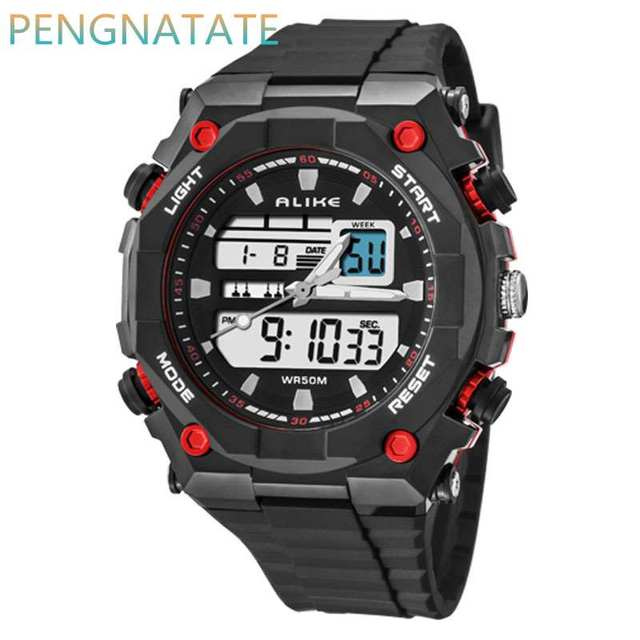 ALIKE Fashion Men Watch Digital LED Display Sports Watches Relogio Masculino 50M Waterproof Dual Display Wristwatches PENGNATATE
