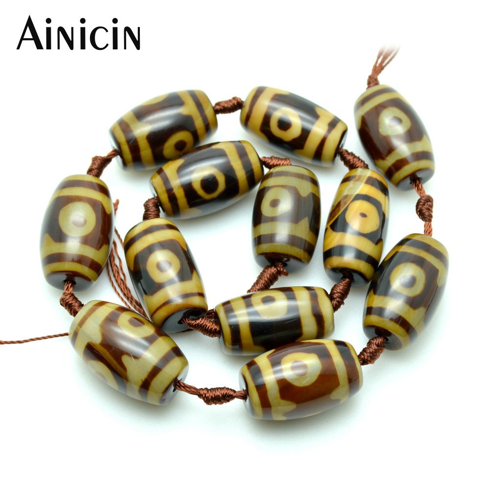 12beads (1 Strand) High Quality Brown Color Tibetan DZI Beads 15x26mm Barrel Shape For Jewelry Making Materials