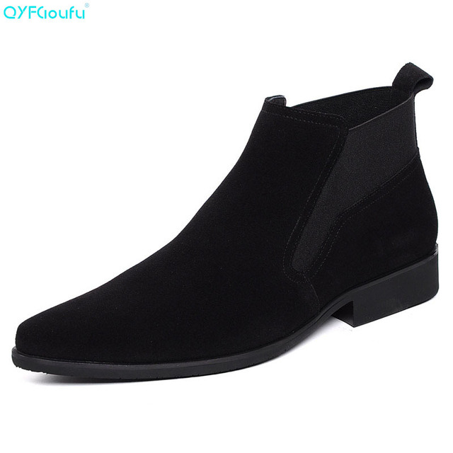 QYFCIOUFU Winter Mens Boots Genuine Leather High Quality Cow Leather Men Dress Boots Shoes Black Lace-up Suede Ankle Boots