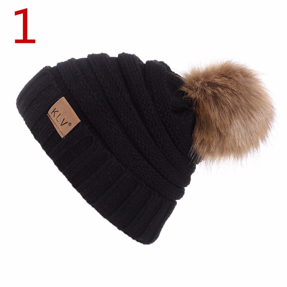 Winter Hats  Knitted Wool Hat Western Style Outdoor Warm Keeping Knitting Ball Top Hat for Women and Men 2017 new wool grey beanie hat for women warm simple style bad hair day knitting winter wooly hats online ds20170123 x24