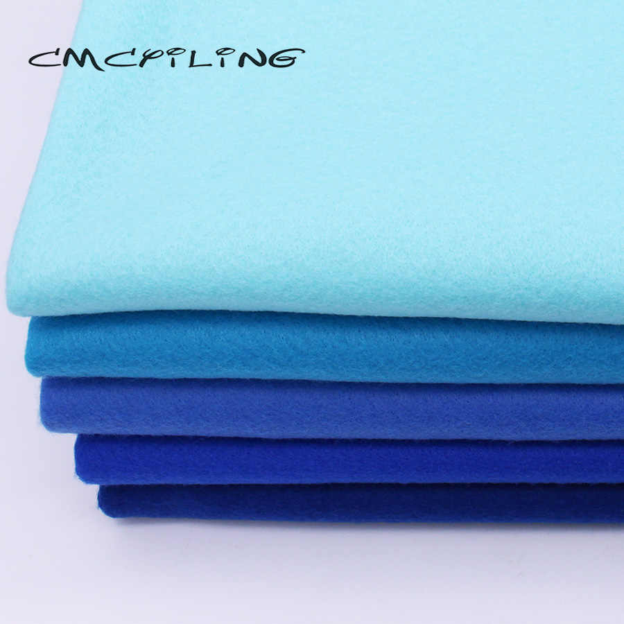 CMCYILING Blue Series Soft Felt Fabric For Needlework DIY Sewing Dolls Crafts 1.2 MM Thickness Polyester Cloth 45*110CM