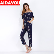 womens printed jumpsuit sexy one word collar ruffled chiffon European and American casual pants ouc3304