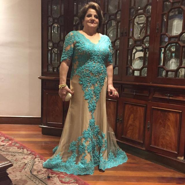 Honey qiao mãe dos vestidos de noiva plus size com meia manga Uma Linha Até O Chão Vestido Formal Para A Mãe Do Noivo Vestidos