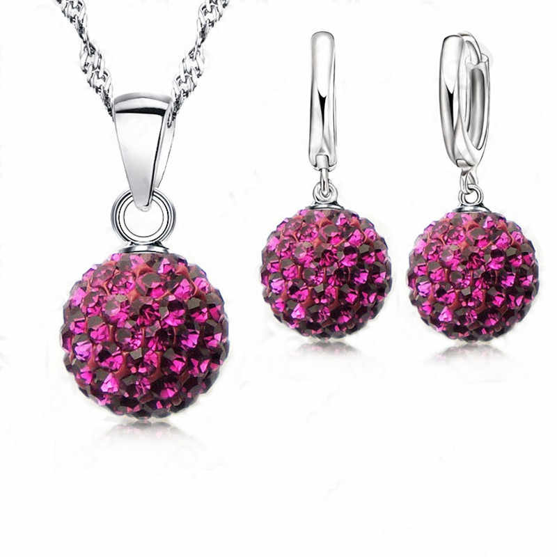 Crazy New Jewelry Sets 925 Sterling Silver Austrian Crystal Pave Disco Ball Lever Back Earring Pendant Necklace Woman Gift