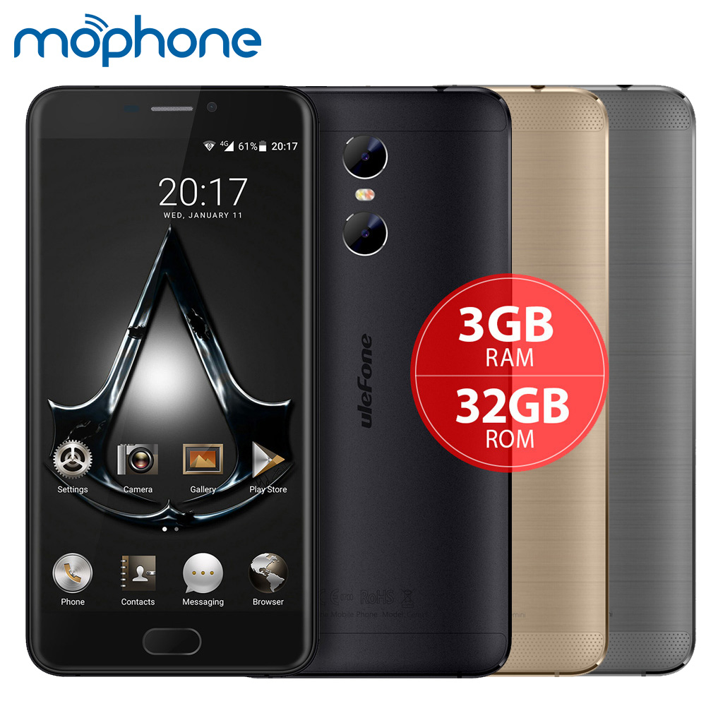 "bilder für UleFone Gemini 4G Smartphone MTK6737T Quad Core 5,5 ""1920*1080 P Android 6.0 3 GB + 32 GB Dual Rückseite Kameras 3250 mAh Handy"