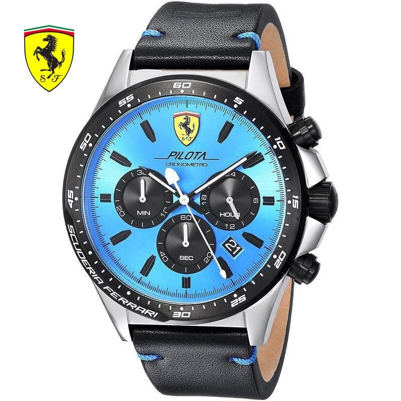 Scuderia Ferrari бренды 2018 г. Новая Ferrari Для мужчин модные Повседневное Hardlex Лидирующий бренд Scuderia pilotaquartz Часы herrenuhren 0830388