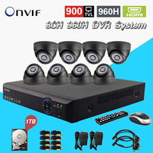 Surveillance cctv 8ch 960h dvr with security 900TVL IR cut camera system 1tb hdd HDMI