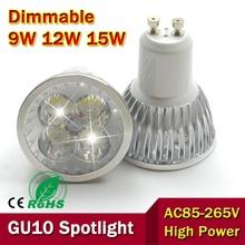 1pcs Super Bright 9W 12W 15W GU10 LED Bulbs Light 110V 220V Dimmable Led Spotlights Warm/Cool White GU 10 base LED downlight