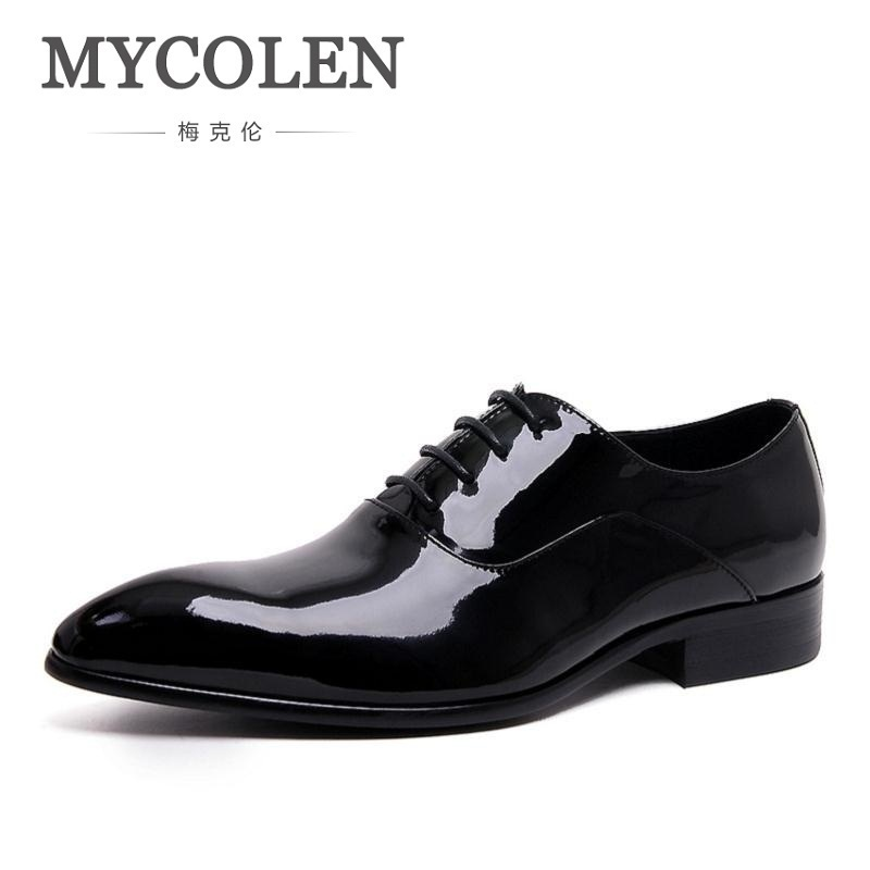 MYCOLEN Men Flats Shoes Wedding Flat Patent Leather Dress Shoes Business Male Pointed Toe Oxford Derbies Et Richelieux Hommes pjcmg spring autumn men s genuine leather pointed toe slip on flats dress oxfords business office wedding for men flats shoes