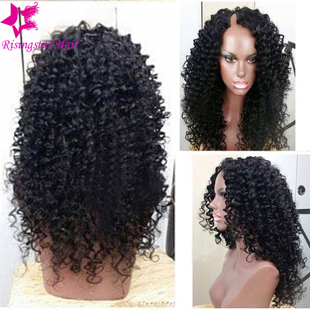 Side Part Afro Kinky Curly U Part Wig for Sale ! Virgin Brazilian U Part  Curly Human Hair Wigs For Black Women Fast Shipping fe1297da4a