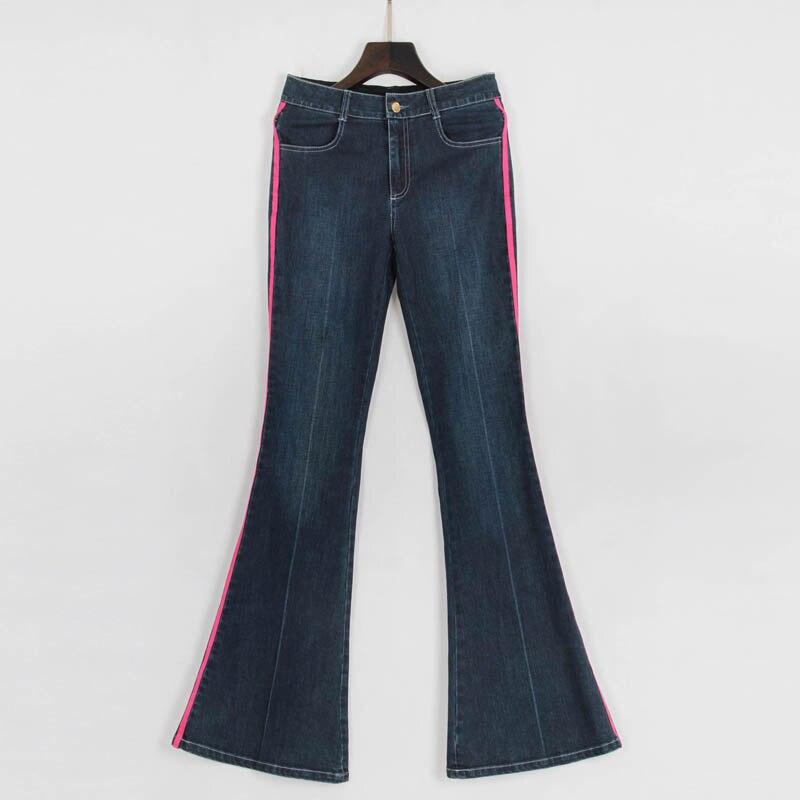 Coton Nouveauté Femmes De Pantalons D'éléphant Supérieure Rayé Jeans Mince 100 Femelle red Pattes Foncé Qualité Laciness Stretch Denim Bleu gwx0H0fq1