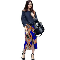 Fashion Front Kick Pleat Womens Formal Wear African Skirt African Colorful Print Element Dashiki Clothing Tailor