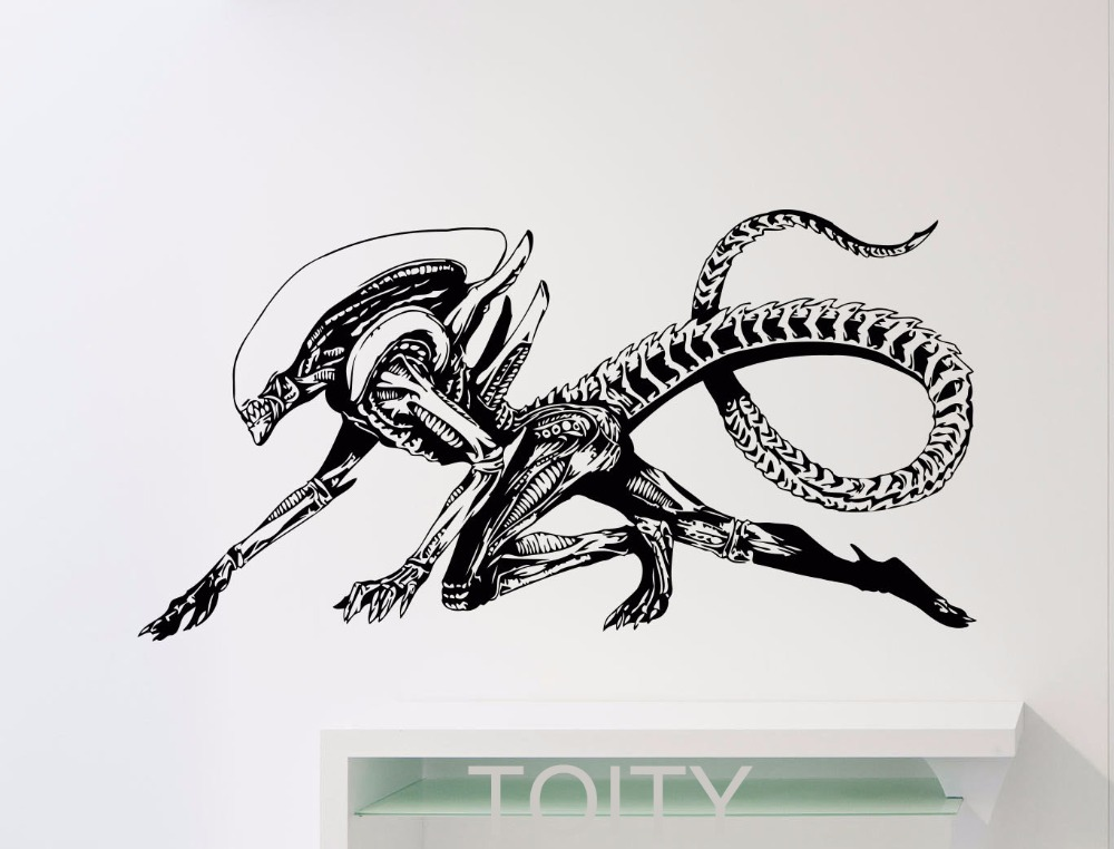 Alien Wall Decal Alien Predator Movie Xenomorph Vinyl Sticker Home Kids Boy Girl Room Interior Decor Dorm Studio Art Mural