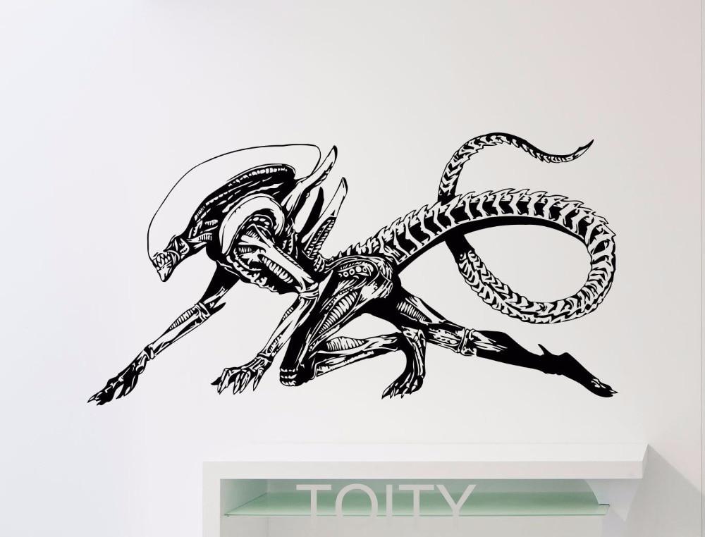 Alien Wall Decal Alien Predator Movie Xenomorph Vinyl <font><b>Sticker</b></font> <font><b>Home</b></font> Kids Boy Girl Room Interior Decor Dorm Studio <font><b>Art</b></font> <font><b>Mural</b></font>
