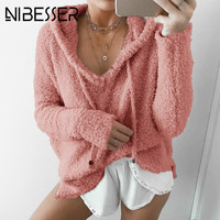 NIBESSER Women Fluffy Mohair Hoodies Autumn Winter Warm Soft Fleece Loose Sweatshirt Casual Drawstring V Neck