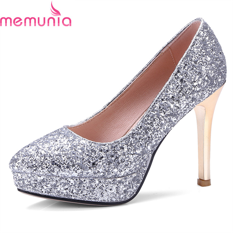 MEMUNIA spring autumn 2018 new arrival sexy pointed toe women pumps stiletto high heels slip-on elegant wedding shoes bride womens shoes high heel woman pumps spring autumn basic silk slip on pointed toe thin heels sexy wedding shoes ljx04 q