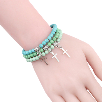 Trendy Men Natural Stone Bracelet Charm Matte Black Cross Beaded Bracelets&Bangles Women Yoga Strand Chain Couple Jewelry Gifts 3
