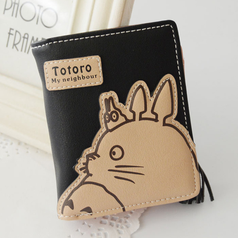 carteira de couro bonito totoro Size : 11.5*9*3cm