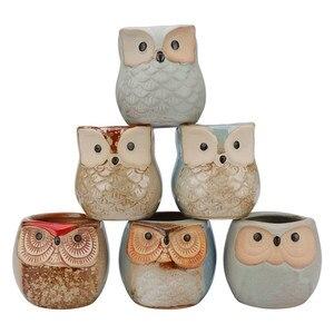 Image 4 - 6 Pcs 2.5 inch Ceramic Owl Succulent Planter Pot Succulent Container Cactus Plant Pot Mini Flower Pot With Holes