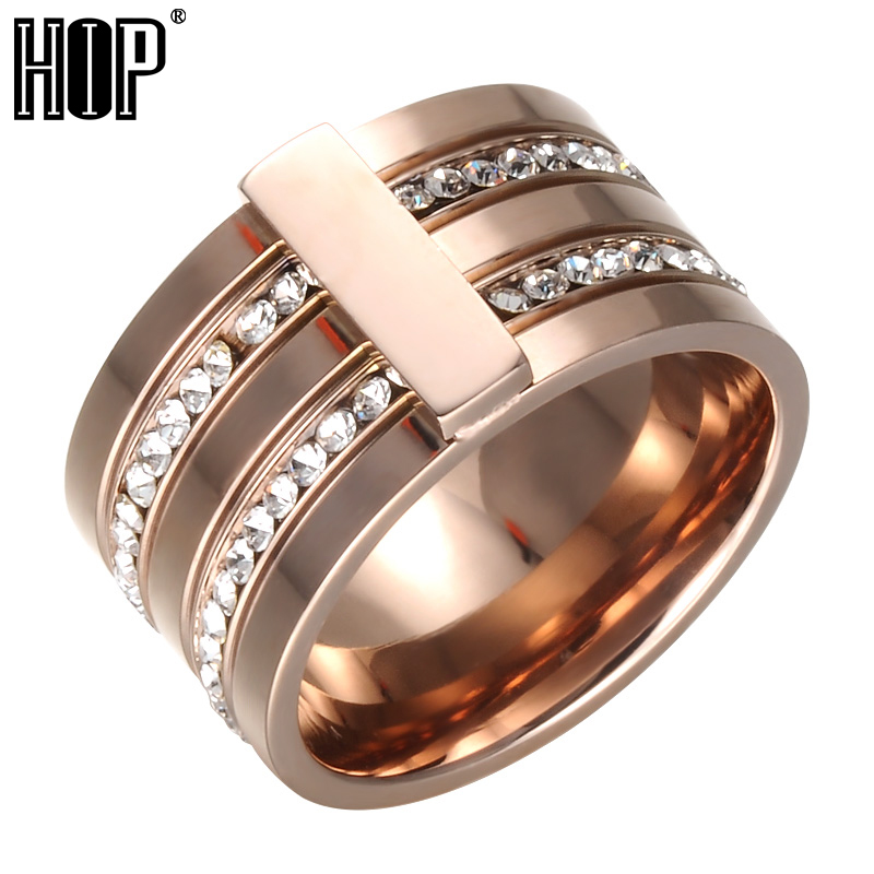 HIP Hop Luxury 2 Rows Crystal Paved Rose Gold Ring Bling Iced Out High Polished Stainless Steel Titanium Rings For Men Jewelry