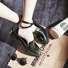 Women's Genuine Leather Ankle Strap Flats Shoes Brand Designer Square Toe Gradient Color Korean Style Spring New Shoes Women Hot