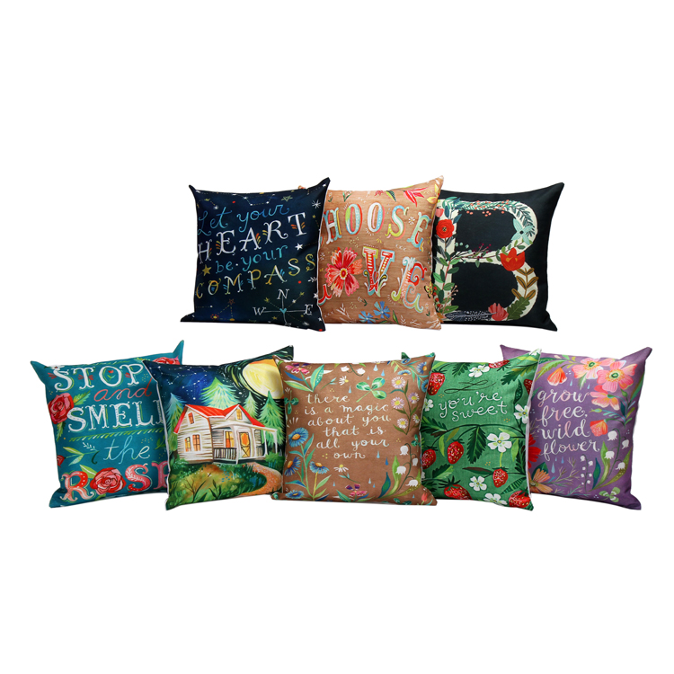Sofa Box Cushion Covers Protect From Dogs ᐂhome Decor Letters With Plants Pattern Linen Throw Pillow Case Home Square Cover Car Bedroom Christmas Decoration