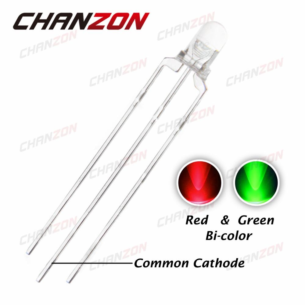 3mm Diffused Dual Bi-Color Red//Green Common Cathode LED 3Pin Diodes