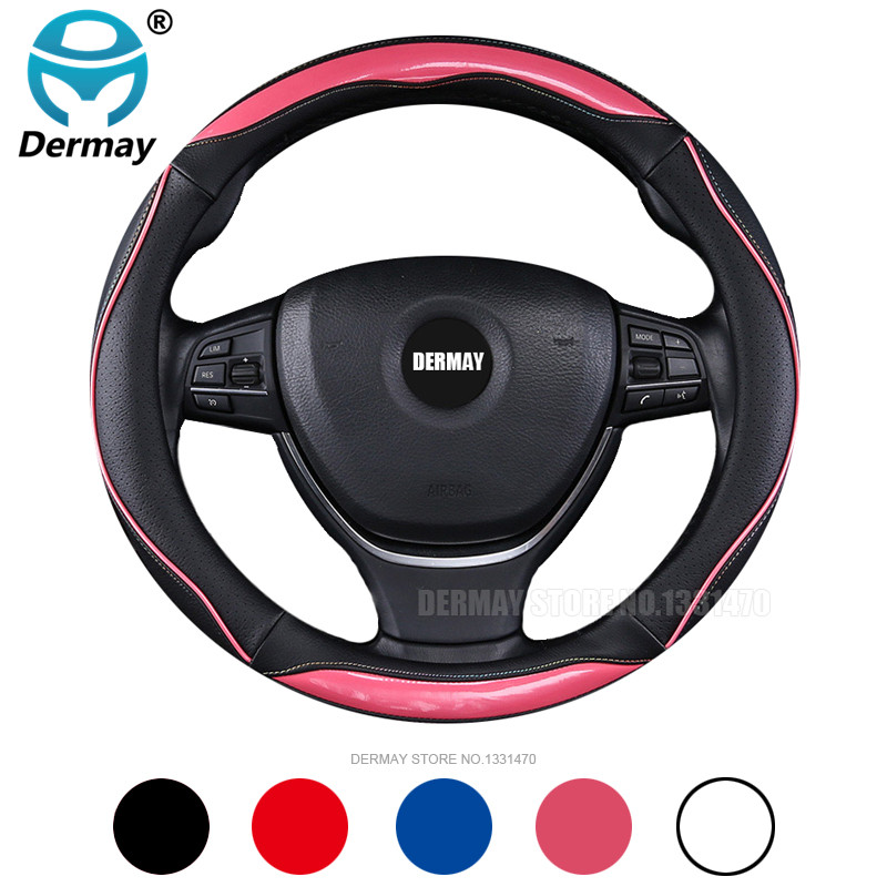 DERMAY Personality <font><b>Car</b></font> Steering <font><b>Wheel</b></font> <font><b>Cover</b></font> Leather with edge <font><b>for</b></font> BMW E90 Men <font><b>Women</b></font> Girls Pink Cute Auto Accessories image