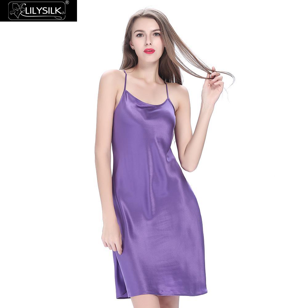 Lilysilk Nightgown Nightdress Sleepwear Silk Women Heavy Sexy Lingerie  Brides 22 Momme Camisola Short Spaghetti Strap Backless -in Nightgowns    Sleepshirts ... 7f82f4f6b