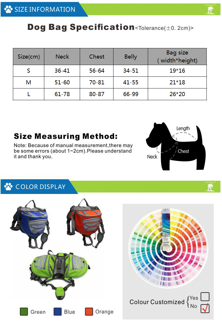 BACKPACK SIZE TABLE