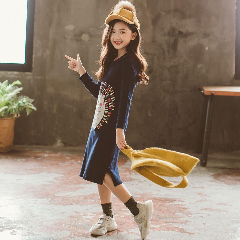 Nouveau 2019 Printemps Bébé robe pour filles Petits Enfants Coton Robe sweat à capuche enfants En Bas Âge Longue Style Chemises de Bande Dessinée Motif, #3008 - 5