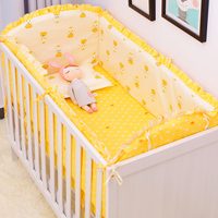 All Seasons Cotton Baby Bedding Set 5pcs Kwaii Print Crib Bedding Set With Sheet Infant Newborn Bed Head Protect Cushion Suit
