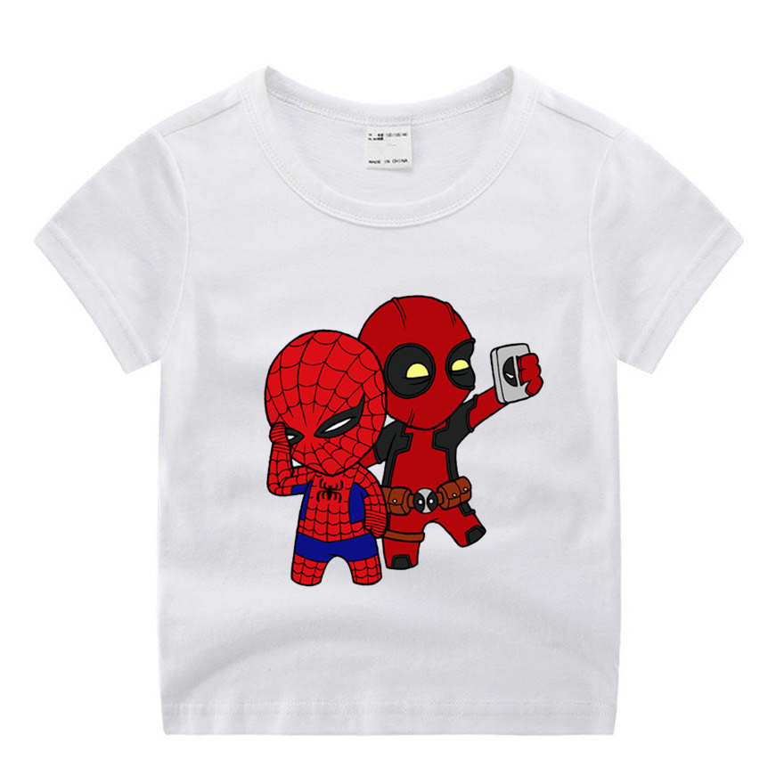 T-Shirt Spiderman Deadpool Birthday-Present Superhero Funny Baby-Boy-Girl Children Print