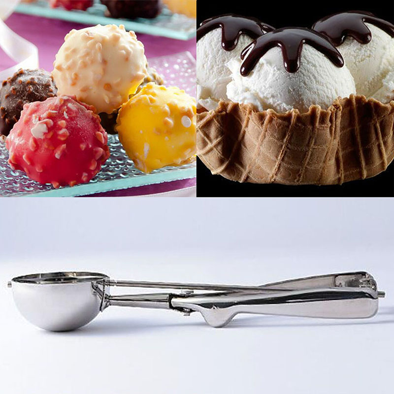 Imixlot Design Stainless Steel Ice Cream Spoon Kitchen Cooking Potato Spring Handle Scoops Accessories Size S/M/L Wholesale