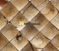 Beige Color 3D Natural Rustic Coconut Art Mosaic Tiles Convex Coconut Panel Art Mosaic Tiles Wall
