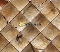 Beige Color 3D Natural Rustic Coconut Art Mosaic Tiles Convex Coconut Panel Art Mosaic Tiles Wall