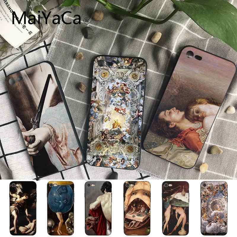 Maiyaca renaissance art Painting TPU black Phone Case Shell for iPhone X XS MAX 6 6S 7 7plus 8 8Plus 5 5S XR