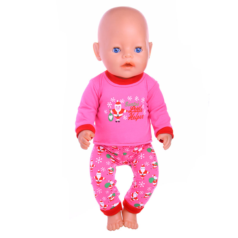 Christmas pattern Doll Clothes Wear Fit 43cm Baby Born zapf Doll,Children best Birthday Gift 2color choose leisure dress doll clothes wear fit 43cm baby born zapf children best birthday gift only sell clothes