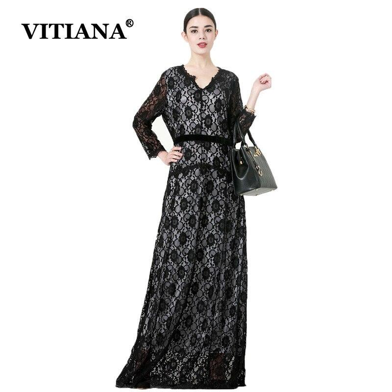 VITIANA Women Plus Size 7XL Casual Dress Autumn Long Sleeve Loose Black Vintage Maxi Long Party Dresses Female Elegant Robe