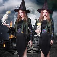 Halloween adult women costume COSPLAY witch dress bloodsucker vampire clothing black with hat