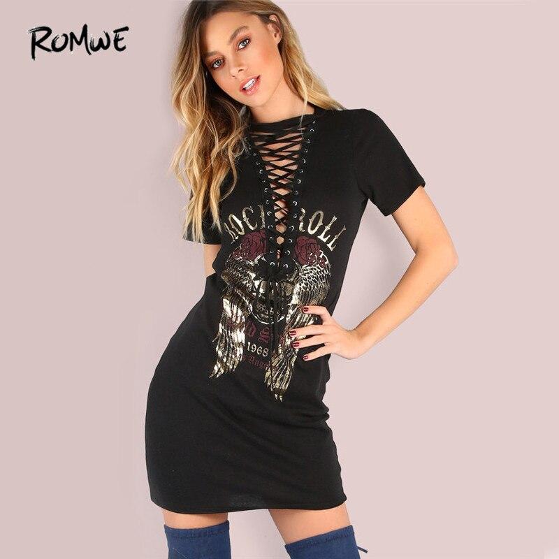 ROMWE Vintage Lace Up Sheath Dress  Sexy Women Rock and Roll Print Black Summer Dresses Deep V Neck Casual Tee Dress black ripped tee dress