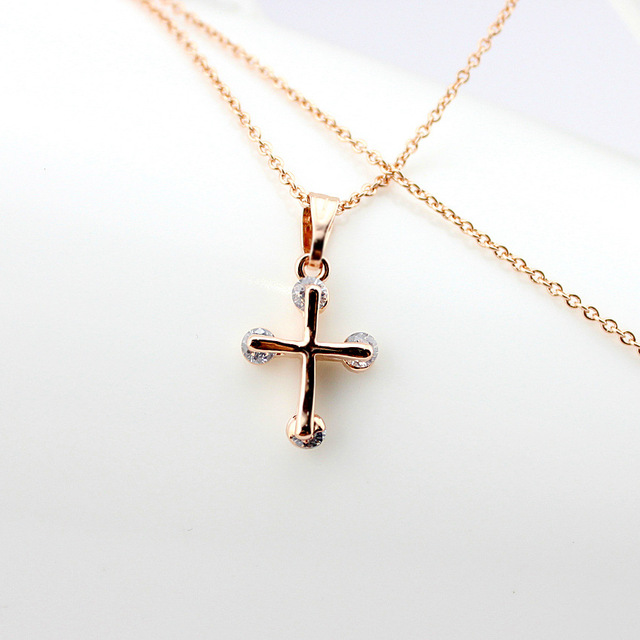 US $5 0  JA5390 14k Rose Gold Plated Necklace, Fashion Style God Bless  Cross Shaped Necklace, Imitation Diamond Necklace-in Pendant Necklaces from
